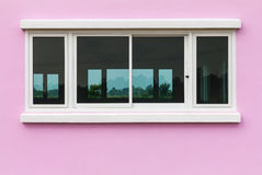 Pink walls and white windows Stock Photography