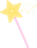 Pink Wand. A magical star wand with a pink handle Stock Illustration