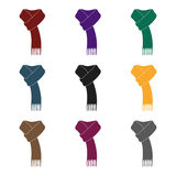 Pink warm wool scarf in ropes.Scarves and shawls single icon in black style vector symbol stock illustration. Royalty Free Stock Image