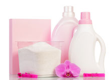 Pink washing powder and Cleaning items Royalty Free Stock Photography