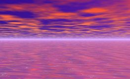 Pink water. And clouds Royalty Free Stock Photo