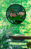 Pink water Lilies stained glass in window Stock Photos