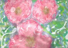Pink Water Lily Roses Fabric Painting Royalty Free Stock Images
