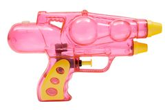 Pink Water Pistol. Plastic water pistol isolated on a white background Royalty Free Stock Images