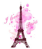 Pink watercolor blots and Eiffel Tower. Romantic background with pink watercolor blots and Eiffel Tower Royalty Free Stock Photos
