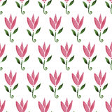 Pink watercolor cartoon flower tulip. hand drawn seamless pattern. Texture can be used for printing on fabric Stock Photo
