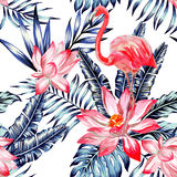 Pink watercolor flamingo and blue palm leaves tropical seamless stock photos