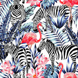 Pink watercolor flamingo, zebra and blue palm leaves tropical se. Exotic pink flamingo, zebra on background summer blue tropic palm leaf. Watercolor floral print royalty free illustration