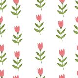 Pink watercolor hand drawn flower tulip seamless. Pink watercolor hand drawn cartoon flower tulip seamless pattern Stock Photos