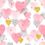 Pink watercolor hearts pattern. Valentines Day design Stock Image
