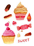 Pink watercolor illustrations of sweet candy, tea pot, macaroon, cupcake, pastry with custard and piece of cake. Set of hand drawn Royalty Free Stock Photography