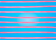 Pink watercolor lines horizontal stripes on the blue background. Hand drawing painting background. For Backdrop, banner, card, fly vector illustration