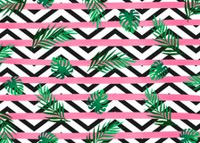 Pink watercolor lines horizontal stripes with exotic tropical jungle rain forest bright green tree on the black and white zig zag vector illustration
