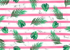 Pink watercolor lines horizontal stripes with with exotic tropical jungle rain forest bright green tree on the white marble textur royalty free illustration