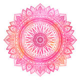 Pink watercolor mandala, indian motif. Ornate round ornament. Royalty Free Stock Images