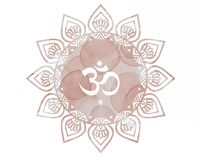 Pink Watercolor mandala Om Aum Symbol. Artwork is my own Stock Photos