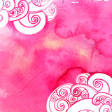 Pink watercolor paint background with doodles Royalty Free Stock Photography