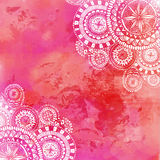 Pink watercolor paint background with white hand Royalty Free Stock Photography