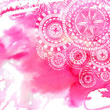 Pink watercolor paint background with white hand Royalty Free Stock Photos