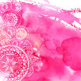 Pink watercolor paint background with white hand Stock Photos