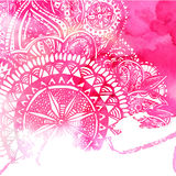Pink watercolor paint background with white hand Stock Image