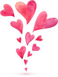 Pink watercolor painted flying hearts spring Stock Image
