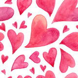 Pink watercolor painted hearts seamless pattern Stock Photo