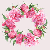 Pink watercolor peonies vintage greeting card Stock Photo