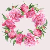 Pink watercolor peonies vintage greeting card Stock Photo