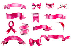 Pink watercolor ribbons and bows Stock Images