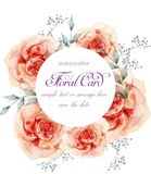 Pink watercolor roses wreath Vector. Delicate floral decor wedding or birthday cards Stock Illustration