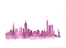 Pink watercolor skyline of new york Stock Images