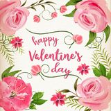 Pink watercolor Valentine`s day background Stock Photography