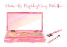 Pink watercolored painting vector illustration of a beauty utensil highlighting box palette with a mirror. Pink watercolored painting vector illustration of a vector illustration