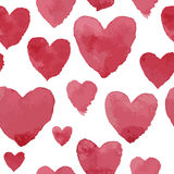 Pink watercolour hearts on white pattern Stock Photography