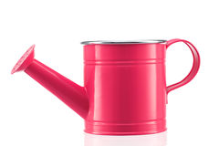 Pink watering can isolated on white Stock Images