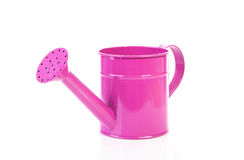 Pink watering can over white background Royalty Free Stock Photo