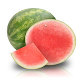 Pink Watermelon Fruit on White. A pink fresh round watermelon cut in half. There is a also a whole piece. They are isolated on a white background. Use it for a Royalty Free Stock Images