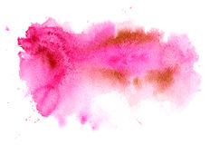 Pink watery illustration.Abstract watercolor hand drawn image. Rose splash.White background Royalty Free Stock Photo