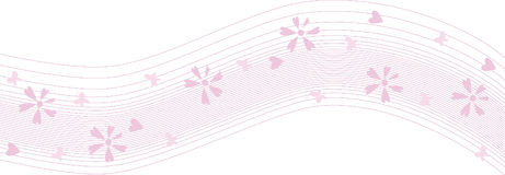 Pink wave. Abstract pink floral background with hearts Royalty Free Stock Photo