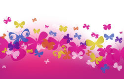 Pink wave with butterflies Royalty Free Stock Images