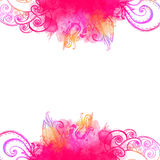 Pink wave frame with doodles and watercolor paint Stock Images