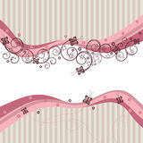 Pink waves, swirls and butterflies Royalty Free Stock Photos