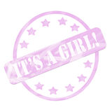 Pink Weathered It's a Girl Stamp Circle and Stars Royalty Free Stock Image