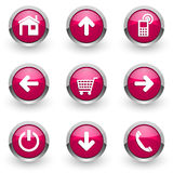 Pink web icons set Stock Photos