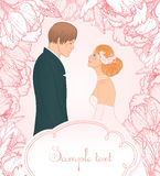 Pink wedding  background with couple Royalty Free Stock Photos