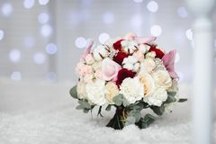 Pink wedding bouquet with cotton flowers Royalty Free Stock Photo