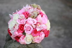 Pink wedding bouquet. And rings Stock Photography