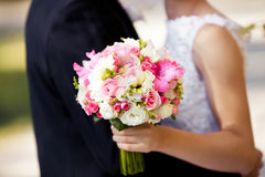 Pink wedding bouquet with roses and gladiolus Royalty Free Stock Photography