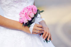 Pink wedding bridal bouquet of roses Royalty Free Stock Image
